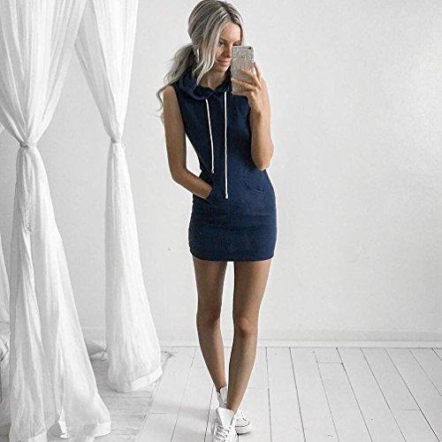 Manches Bleu Mode Couleur Unie Sweat Casual Femme Adeshop Robe Sans Été Décontractée À Capuche De 6xgzHEqw