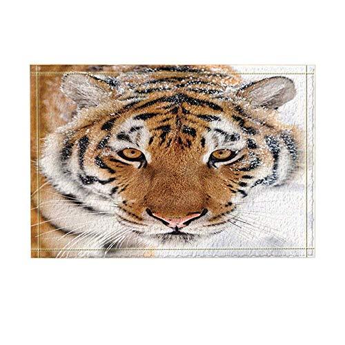 Safari Decor Asian Siberian Tiger with Snow on Head Bath Rugs Non-Slip Doormat Floor Entryways Indoor Front Door Mat Kids Bath Mat 15.7X23.6In Bathroom Accessories (Tiger Head Rug)