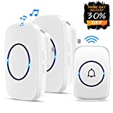 Agedate Wireless Doorbell,Waterproof Doorbell Chime with 2 plug-in Receivers and 1 Remote Push Button Operating at 1000-feet Range with 38 Chimes,3 Level Volume, LED Indicator-White
