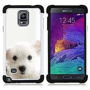 - cub puppy white mutt pet muzzle cute dog/ H??brido 3in1 Deluxe Impreso duro Soft Alto Impacto caja de la armadura Defender - SHIMIN CAO - For Samsung Galaxy Note 4 SM-N910 N910