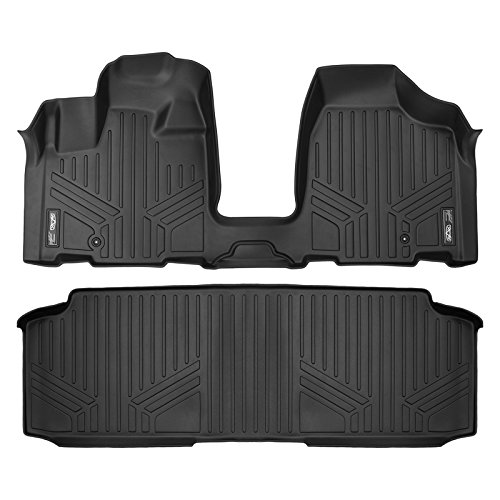 SMARTLINER Floor Mats 2 Row Liner Set Black for 2008-2018 Dodge Grand Caravan / Chrysler Town & Country (with 2nd Row Bench Seat)