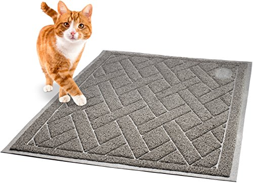 Litter Catcher Mat - Pawkin Cat Litter Mat - Patented Design with Litter Lock Mesh - Extra Large - Durable - Easy to Clean - Soft - Fits Under Litter Box - Litter Free Floors - Gray