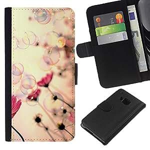 EJOY---La carpeta del tirón la caja de cuero de alta calidad de la PU Caso protector / HTC One M7 / --Burbujas de jabón de primavera Vignette Rosa