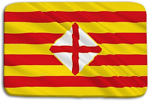 YnimioHOB Cocina Piso Baño Entrada Alfombras Alfombra Bandera Provincia de Barcelona Este de España Bandera Provincia de Barcelona Este de España Centro Autónomo Alfombrilla de baño Antideslizante: Amazon.es: Hogar