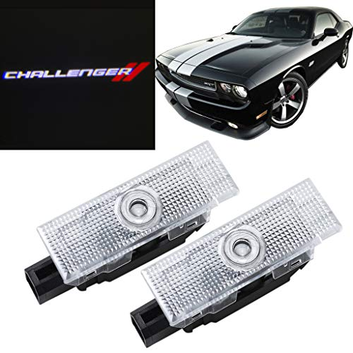 HNZJ 2x No Drill LED Door Projector Logo Lights for Dodge Challenger 2008-2019 White