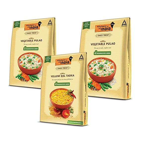ITC Kitchens of India Combo Pack - Yellow Dal Tadka,285g and Vegetable Pulao(2*250g)
