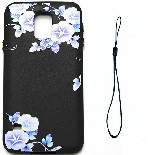 Samsung Galaxy S5, Ecoway Light oil TPU (Con cuerda de mano) Ultra Delgado Carcasa Antideslizante Suave Parachoques Resistente a los arañazos Contraportada Funda de silicona pintado Parachoques Carcas A3