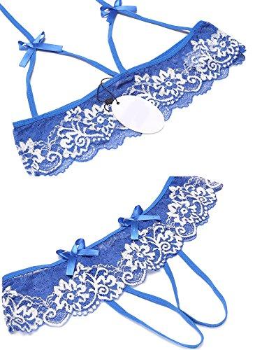 Pizzo Crotchless Babydoll Donne UNibelle Lingerie Aperte V Pigiama Merletto Teddy intimi scollo Completi Blu Sleepwear Tazza Nightwear a Px11wYtB