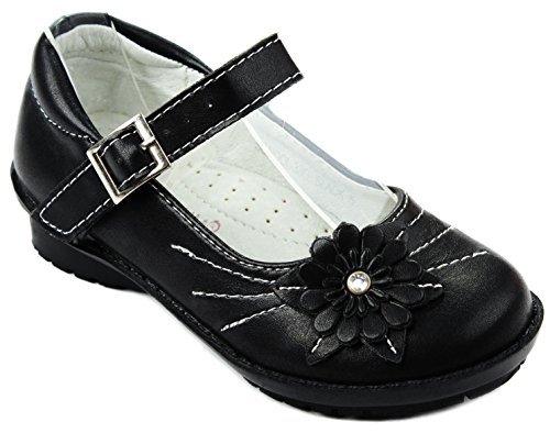 Baby Girls School-33 Black Mary Jane Flower Infant Toddler Cushioned Formal Dress Flat Shoes-4