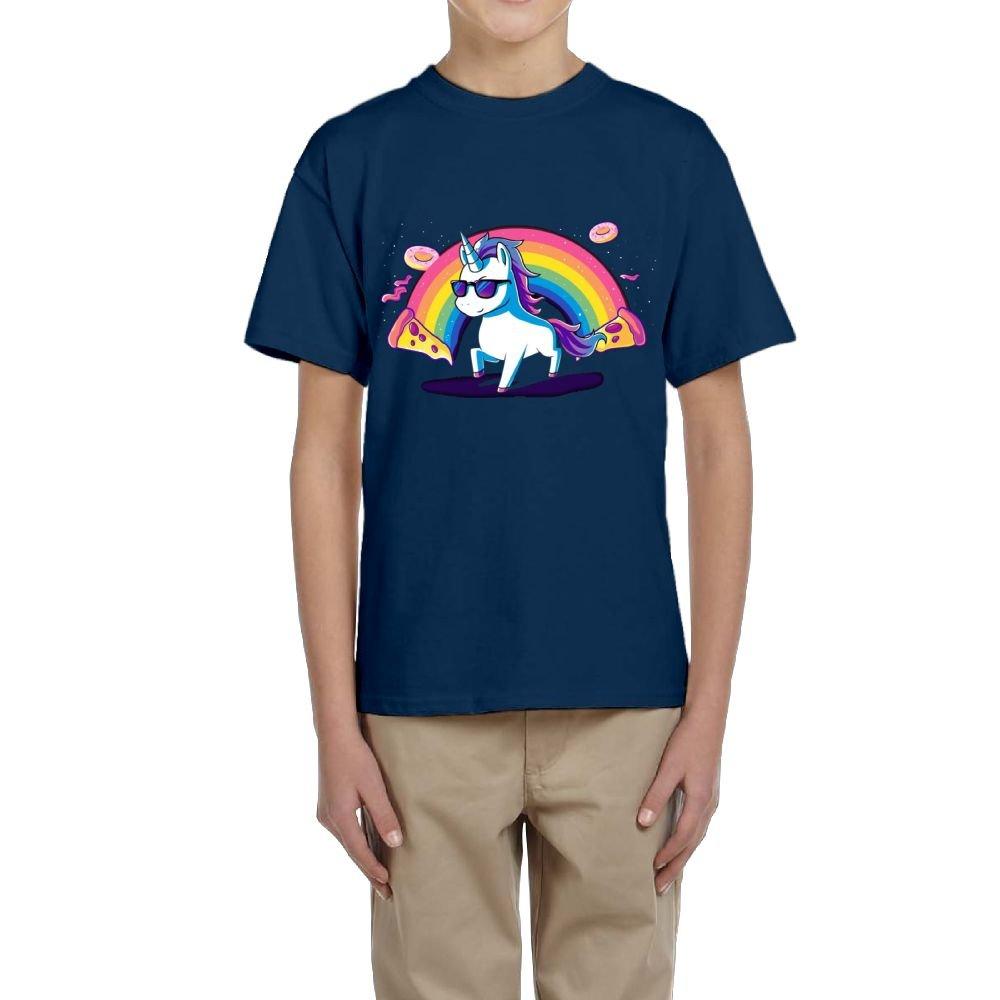 Fzjy Wnx Cool Donut Pizza Unicorn Youth Crewneck Short Sleeve Of T-Shirt For Boys