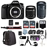 Cheap Canon EOS Rebel 80D Bundle With EF-S 18-55mm IS STM & EF-S 55-250mm IS STM Lenses + Advanced Accessory Kit – Including EVERYTHING You Need To Get Started
