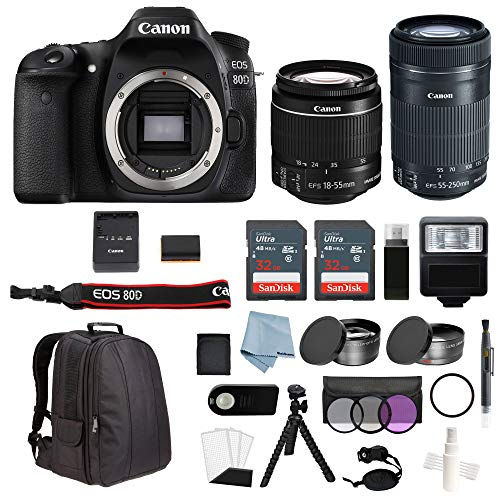 Canon EOS Rebel 80D Bundle With EF-S 18-55mm IS STM & EF-S 55-250mm IS STM Lenses + Advanced Accessory Kit - Including EVERYTHING You Need To Get Started