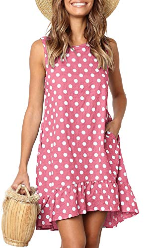 - LouKeith Womens Dresses Sleeveless Polka Dot Ruffle Casual Summer Beach Loose Short Tank Dress with Pockets Pink L