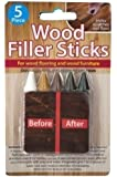 5 Piece Wood Filler Sticks - Repair and Restore Scratches on Wood Flooring and Furniture (1 set)