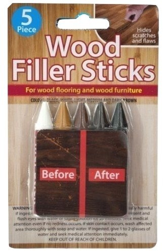 5 Piece Wood Filler Sticks - Repair and Restore Scratches on Wood Flooring and Furniture (1 set) - Five Piece Wood