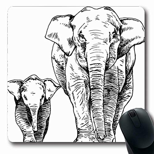 Ahawoso Mousepads Mother Outline Sketch Elephant Calf Graphic Nature Asia Baby Thailand Hand Child Fauna Oblong Shape 7.9 x 9.5 Inches Non-Slip Gaming Mouse Pad Rubber Oblong Mat (Elephant Baby Outline)