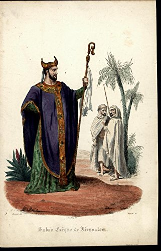 1850 Costumes (Bishop Robe Staff Costume ca. 1850 beautiful scarce antique hand color print)