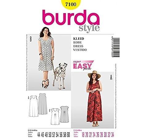Burda Mujer Patrones De Ropa Vestidos 7100 Summer Plus Tallas 46 62 Amazon Es Hogar