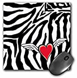 3dRose LLC 8 x 8 x 0.25 Inches Mouse Pad, Cupid Heart with Wings Zebra Print (mp_26092_1)