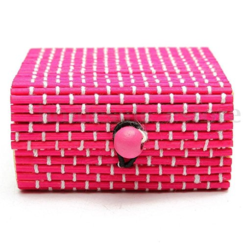 Muranba Ring Necklace Earrings Bamboo Wooden Case Jewelry Storage Boxes Holder Posh (Pink)