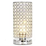 POPILION Decorative Chrome Crystal Table Lamp,Crystal Shade Table Lamps for Bedroom Living Room Coffee Table Bookcase