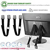 Image of Eco Baby Anti-Tip Furniture & TV Straps: 2-Pack All-Metal Furniture Anchors Set/ EarthquakeResistant & Adjustable Safety Straps/ Baby Proofing Kit/ Bolts & Hardware Included (Black)