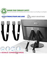 Eco Baby Anti-Tip Furniture & TV Straps: 2-Pack All-Metal Furniture Anchors Set/ EarthquakeResistant & Adjustable Safety Straps/ Baby Proofing Kit/ Bolts & Hardware Included (Black) BOBEBE Online Baby Store From New York to Miami and Los Angeles
