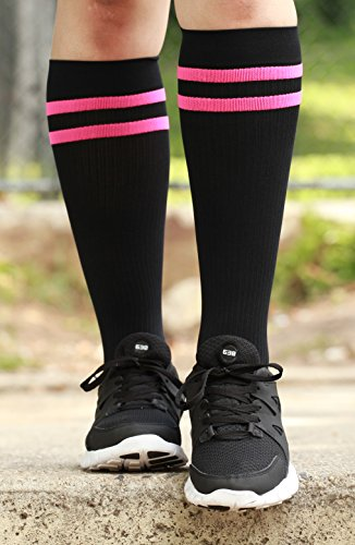 350b5e994f Mojo Compression Socks Special edition Breast Cancer Ribbon - Firm  Graduated Medical Compression with moisture Coolmax material Knee High -  Black Medium