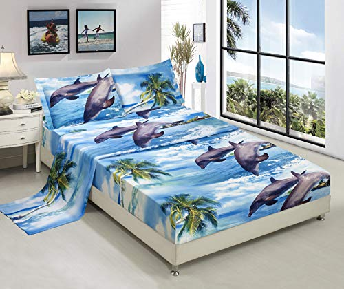 Bednlinens Luxury 4 Piece Sheet Set 3d Dolphins and Palm Tree Print Queen King (King, DOLPHIN-D12) Deep Blue Ocean Dolphins