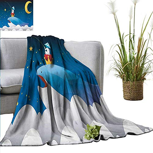 homehot Whale Blanket Sheets King Whale on Top of Night Clouds with Stars and Moon with Child Sitting on Print Sofa Chair 54