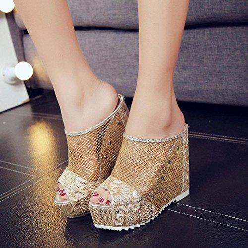 Or Flops Sandales Talons à Coin Sandales d'été Flip Chaussures à Femmes Hauts Sandales Creux Été Amlaiworld Femmes qXaFwSXC