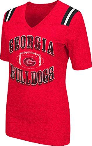 Colosseum NCAA Womens-Artistic-Distressed Print T-Shirt-Georgia Bulldogs-Large ()