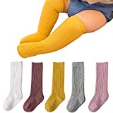 BOOPH Girls Knee High Stockings Bowknot Socks 5 Pack 3-5 Years Solid Color