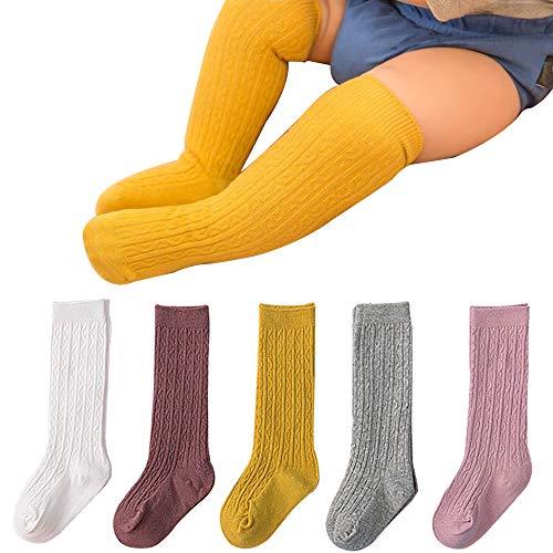 BOOPH Girls Knee High Stockings Bowknot Socks 5 Pack 1-3 Years Solid Color (Girls Baby Socks Knee For)