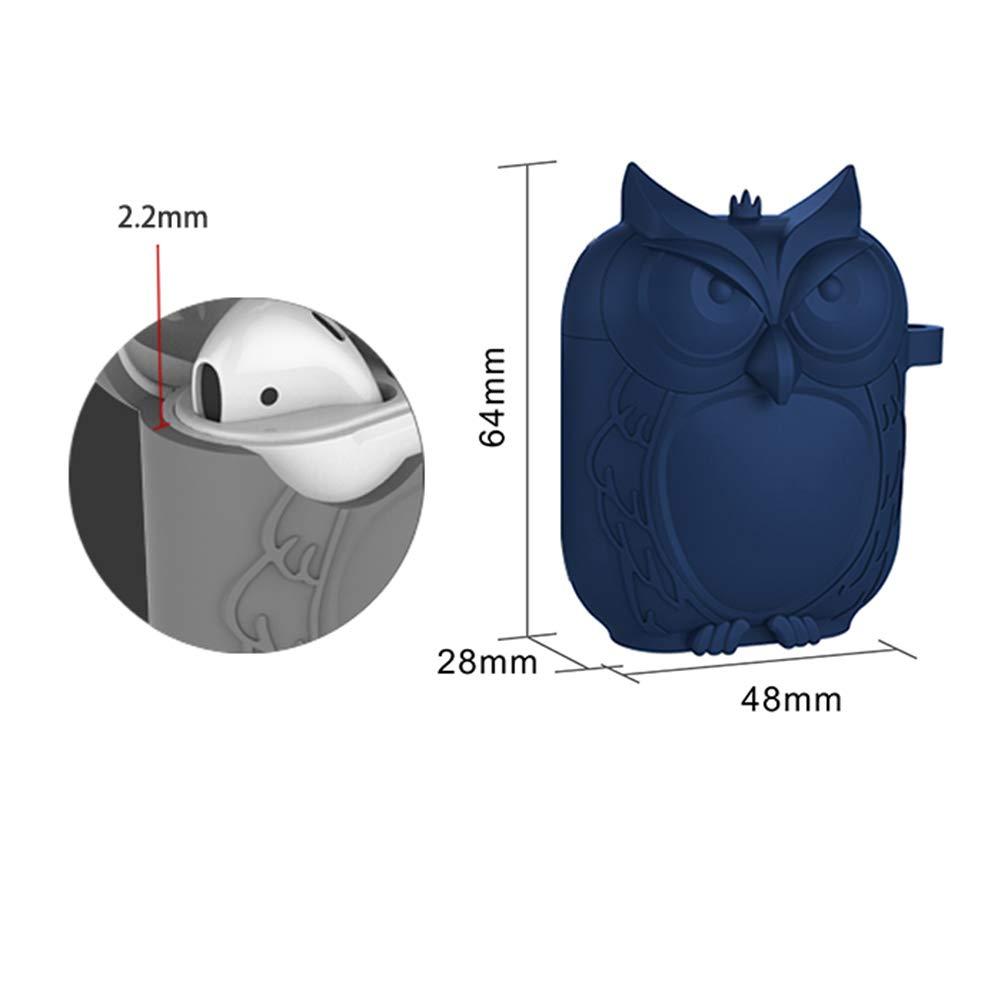 Sinoem Custodia Airpods Apple Silicone Blu Simpatico Gufo Airpods Accessori Con Coperchio Protettivo In Silicone Airpods con anti-perso strap