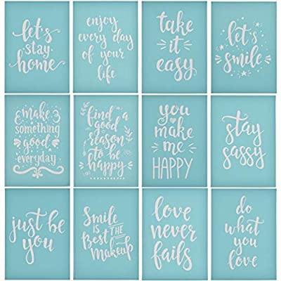 YeulionCraft DIY Self-Adhesive Silk Screen Printing Stencil Letters Pattern Reusable Sign Stencils for Painting on Wood Making DIY Decoration