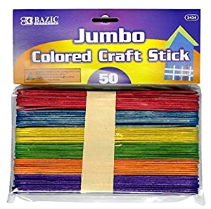 bazic jumbo colored craft stick 50 per pack On jumbo colored craft sticks