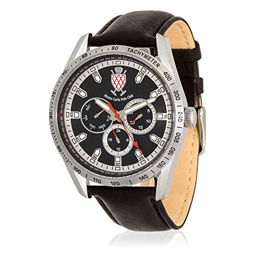 Carlo Watch Monte Leather (Monte-Carlo Polo Club Mens Classic Multifunction Watch with Black Dial and Black Leather Strap)
