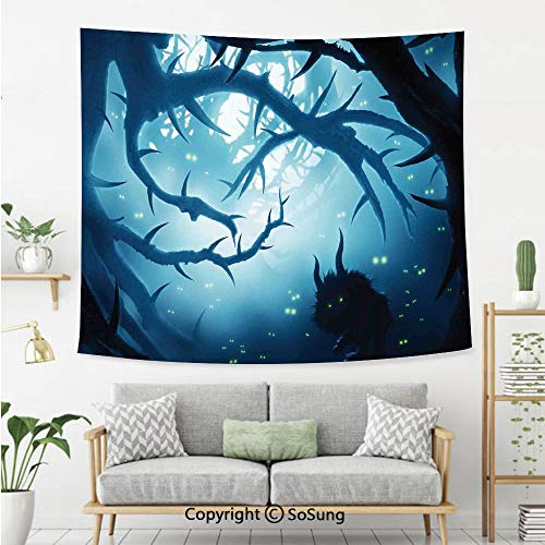 SoSung Mystic House Decor Wall Tapestry,Animal with Burning Eyes in Dark Forest at Night Horror Halloween Illustration,Bedroom Living Room Dorm Wall Hanging,60X40 Inches,Navy White]()