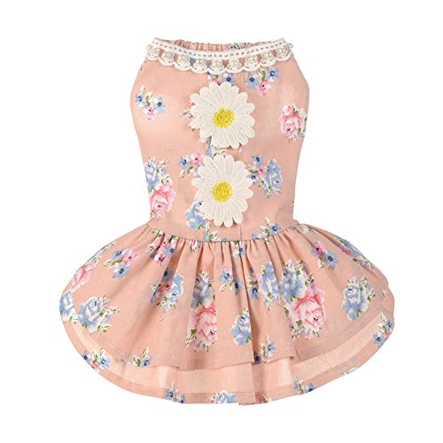 BUYITNOW Dog Flower Dress Cute Summer Pet Lace Sundress Clothes for Small Dogs Girl