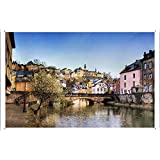 "Wall Art Printing on Metal Tin Decoration Poster Sign of Luxembourg Day Bridges Buildings River 25576 8""x12"" Inches by Photo Digger"