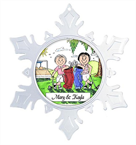 Printed Perfection Personalized Golfing Buddies - Female & Female Snow Flake Christmas Ornament Friendly Folks, Gift, Golfer, Tournament, Trophy ()