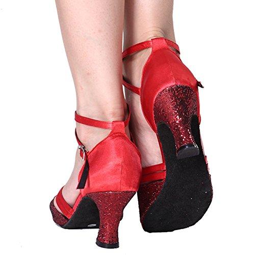 Dancing da Sociale Donna Salsa Scarpe Scarpe Pelle Ballo Tango Morbido da S GUOSHIJITUAN Latino A Red Fondo Alti Ballo Pattini di Tacchi ZRxFFU