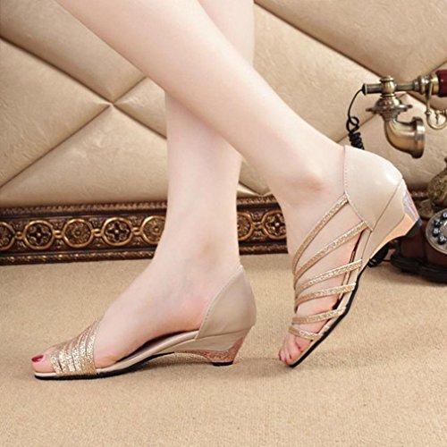 Euone Moda Recortes Sandalias De Mujer Punta Abierta Cuñas Bajas Zapatos De Verano Zapatos De Playa Oro