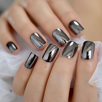 EchiQ - Uñas postizas de acrílico francés, color gris ...