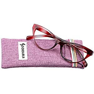 SOOLALA Modern Cat Eye Clear Lens Eye Glasses Frame Reading Glasses for Ladies, Red, +0.75D