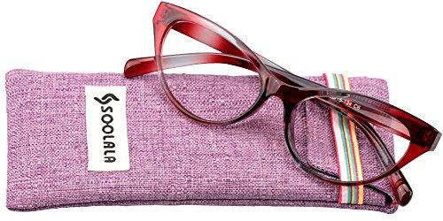 SOOLALA Modern Cat Eye Clear Lens Eye Glasses Frame Reading Glasses for Ladies, Red, - Branded Frames Glasses