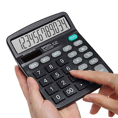 (Calculator, XINPENGFA Standard Function Desktop Calculator ,12-Digit Battery Dual Powered Handheld Electronic Business Desktop Office Calculator, Simple Desk Calculators with Large LCD Display Black)