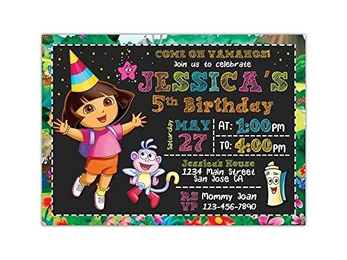 Dora Invitation - Custom Dora the Explorer Birthday Party Invitations for Kids, 10pc-100pc 4