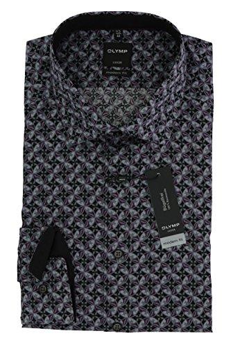 OLYMP Luxor modern fit Hemd Langarm mit Besatz Muster schwarz